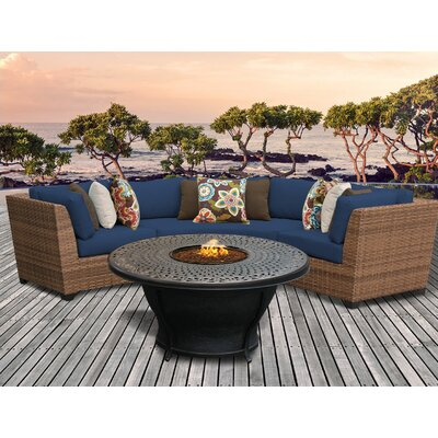 Laguna Outdoor Wicker 4 Piece Fire Pit Seating Group with Cushion Fabric: Navy
