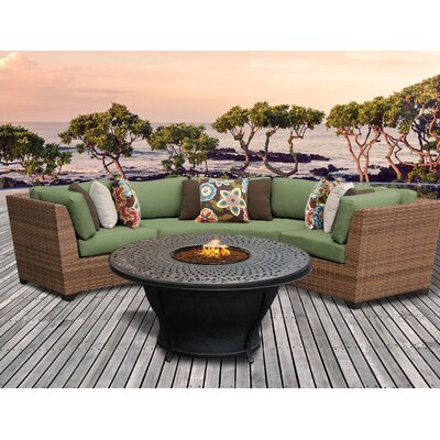 Laguna Outdoor Wicker 4 Piece Fire Pit Seating Group with Cushion Fabric: Cilantro