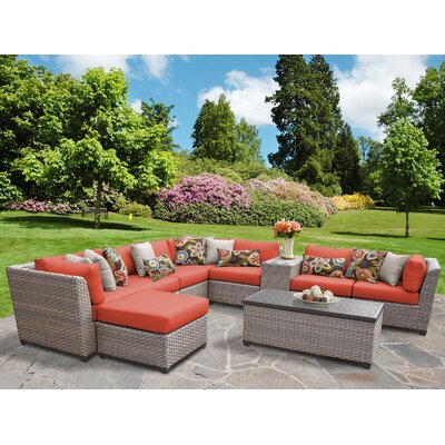 Florence Outdoor Wicker 10 Piece Sectional Seating Group with Cushion Fabric: Tangerine