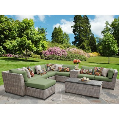 Florence Outdoor Wicker 10 Piece Sectional Seating Group with Cushion Fabric: Cilantro