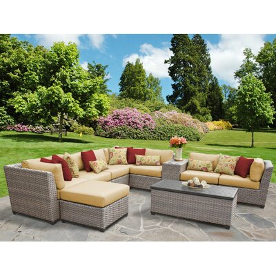 Florence Outdoor Wicker 10 Piece Sectional Seating Group with Cushion Fabric: Sesame