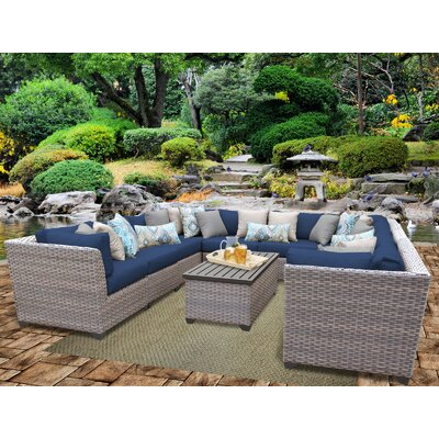 Florence Outdoor Wicker 11 Piece Sectional Seating Group with Cushion Fabric: Navy