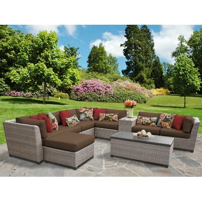 Florence Outdoor Wicker 10 Piece Sectional Seating Group with Cushion Fabric: Cocoa