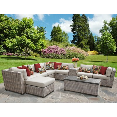 Florence Outdoor Wicker 10 Piece Sectional Seating Group with Cushion Fabric: Beige
