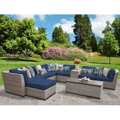 Florence Outdoor Wicker 10 Piece Sectional Seating Group with Cushion Fabric: Navy