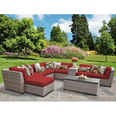 Florence Outdoor Wicker 10 Piece Sectional Seating Group with Cushion Fabric: Terracotta