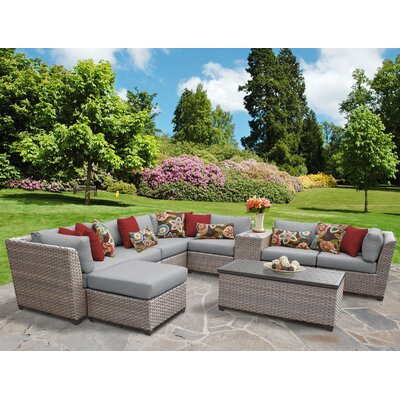 Florence Outdoor Wicker 10 Piece Sectional Seating Group with Cushion Fabric: Gray