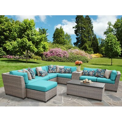 Florence Outdoor Wicker 10 Piece Sectional Seating Group with Cushion Fabric: Aruba