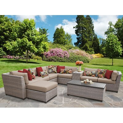 Florence Outdoor Wicker 10 Piece Sectional Seating Group with Cushion Fabric: Wheat