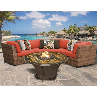 Laguna Outdoor Wicker 4 Piece Fire Pit Seating Group with Cushion Fabric: Tangerine