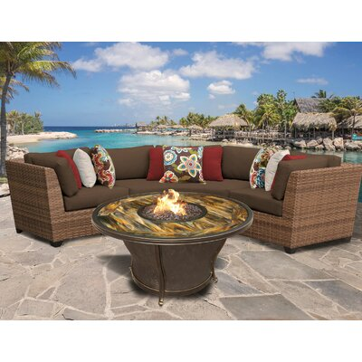 Laguna Outdoor Wicker 4 Piece Fire Pit Seating Group with Cushion Fabric: Cocoa