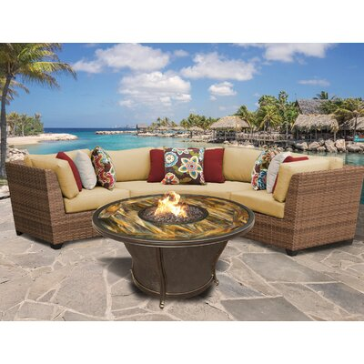 Laguna Outdoor Wicker 4 Piece Fire Pit Seating Group with Cushion Fabric: Sesame