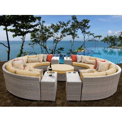 Florence Outdoor Wicker 11 Piece Sectional Seating Group with Cushion Fabric: Sesame