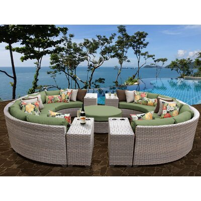 Florence Outdoor Wicker 11 Piece Sectional Seating Group with Cushion Fabric: Cilantro