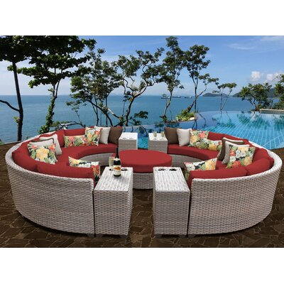 Florence Outdoor Wicker 11 Piece Sectional Seating Group with Cushion Fabric: Terracotta