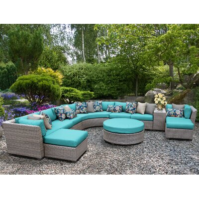 Florence Outdoor Wicker 11 Piece Sectional Seating Group with Cushion Fabric: Aruba
