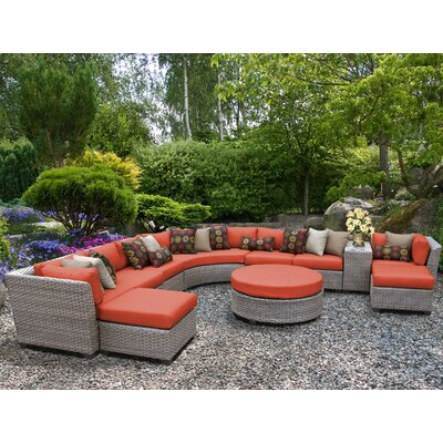 Florence Outdoor Wicker 11 Piece Sectional Seating Group with Cushion Fabric: Tangerine