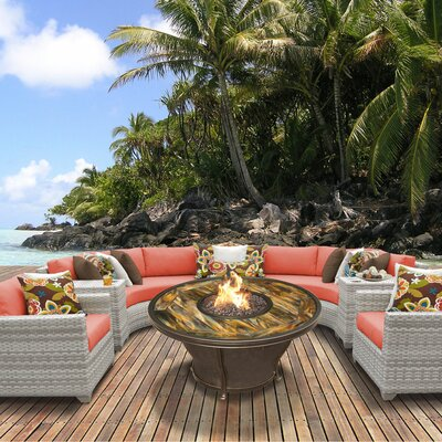 Fairmont Outdoor Wicker 8 Piece Fire Pit Seating Group with Cushion Fabric: Tangerine