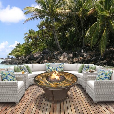 Fairmont Outdoor Wicker 8 Piece Fire Pit Seating Group with Cushion Fabric: Beige