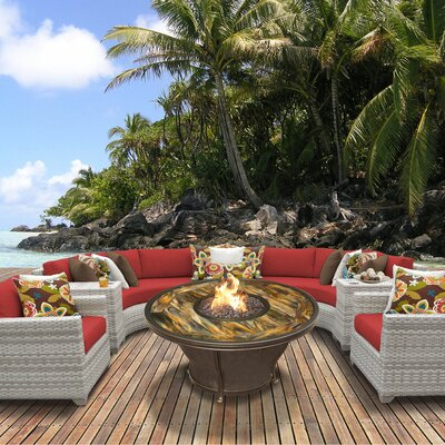 Fairmont Outdoor Wicker 8 Piece Fire Pit Seating Group with Cushion Fabric: Terracotta