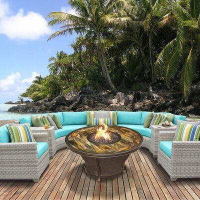 Fairmont Outdoor Wicker 8 Piece Fire Pit Seating Group with Cushion Fabric: Aruba