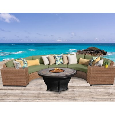 Laguna Outdoor Wicker 6 Piece Fire Pit Seating Group with Cushion Fabric: Cilantro