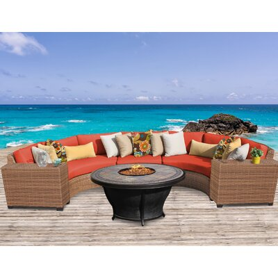Laguna Outdoor Wicker 6 Piece Fire Pit Seating Group with Cushion Fabric: Tangerine