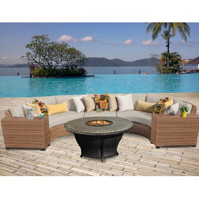 Laguna Outdoor Wicker 6 Piece Fire Pit Seating Group with Cushion Fabric: Beige