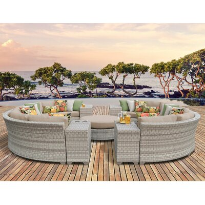 Fairmont Outdoor Wicker 11 Piece Sectional Seating Group with Cushion Fabric: Wheat