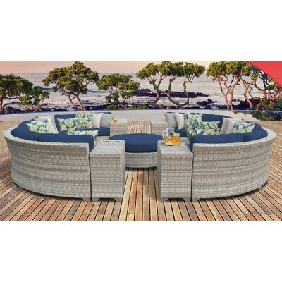 Fairmont Outdoor Wicker 11 Piece Sectional Seating Group with Cushion Fabric: Navy
