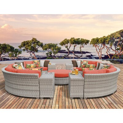 Fairmont Outdoor Wicker 11 Piece Sectional Seating Group with Cushion Fabric: Tangerine
