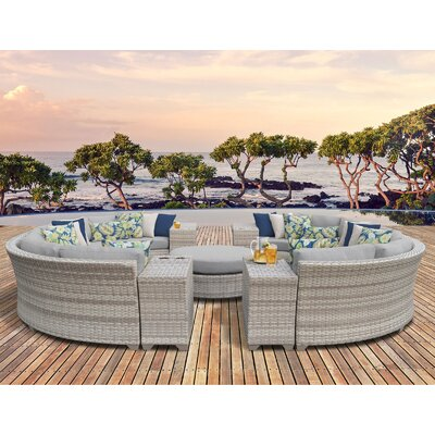Fairmont Outdoor Wicker 11 Piece Sectional Seating Group with Cushion Fabric: Grey