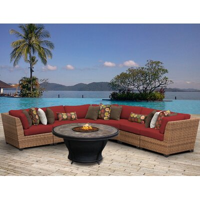 Laguna Outdoor Wicker 6 Piece Fire Pit Seating Group with Cushion Fabric: Terracotta