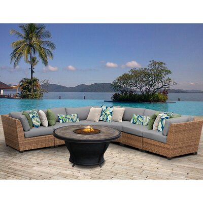 Laguna Outdoor Wicker 6 Piece Fire Pit Seating Group with Cushion Fabric: Grey