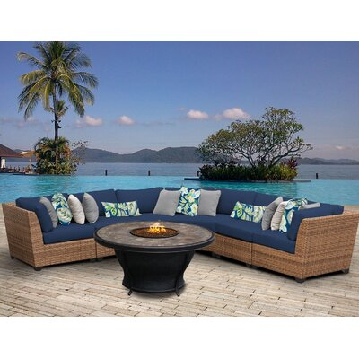 Laguna Outdoor Wicker 6 Piece Fire Pit Seating Group with Cushion Fabric: Navy