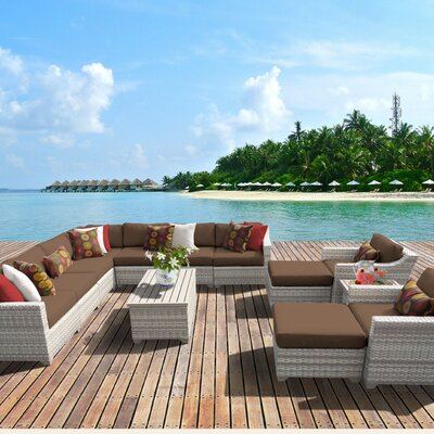Fairmont Outdoor Wicker 13 Piece Sectional Seating Group with Cushion Fabric: Cocoa