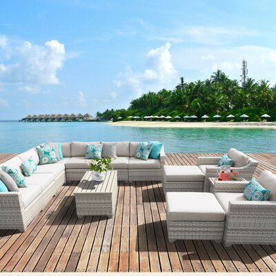 Fairmont Outdoor Wicker 13 Piece Sectional Seating Group with Cushion Fabric: Beige