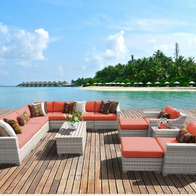 Fairmont Outdoor Wicker 13 Piece Sectional Seating Group with Cushion Fabric: Tangerine