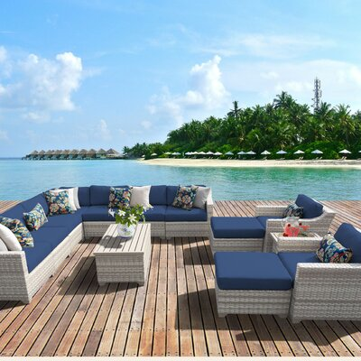 Fairmont Outdoor Wicker 13 Piece Sectional Seating Group with Cushion Fabric: Navy