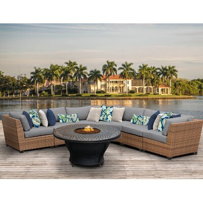 Laguna Outdoor Wicker 6 Piece Fire Pit Seating Group with Cushion Fabric: Gray