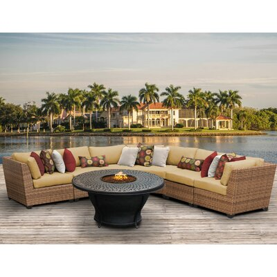 Laguna Outdoor Wicker 6 Piece Fire Pit Seating Group with Cushion Fabric: Sesame