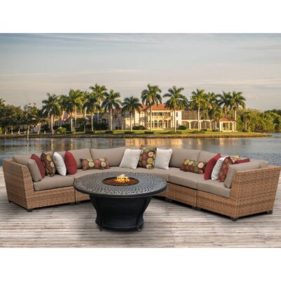 Laguna Outdoor Wicker 6 Piece Fire Pit Seating Group with Cushion Fabric: Wheat