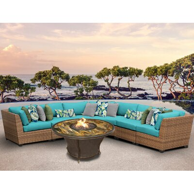 Laguna Outdoor Wicker 6 Piece Fire Pit Seating Group with Cushion Fabric: Aruba