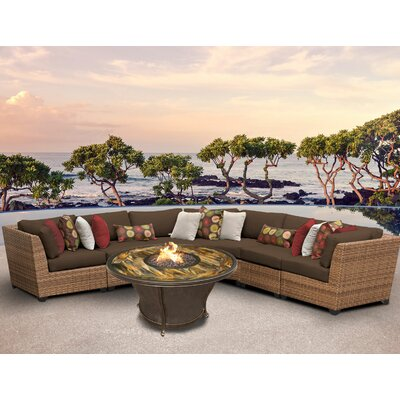 Laguna Outdoor Wicker 6 Piece Fire Pit Seating Group with Cushion Fabric: Cocoa