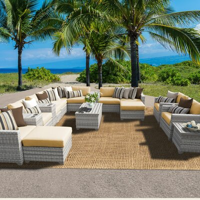 Fairmont 17 Piece Sectional Seating Group with Cushion Fabric: Sesame