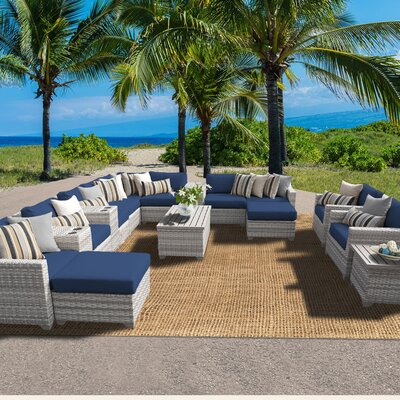 Fairmont 17 Piece Sectional Seating Group with Cushion Fabric: Navy