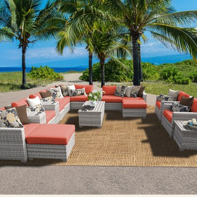 Fairmont 17 Piece Sectional Seating Group with Cushion Fabric: Tangerine
