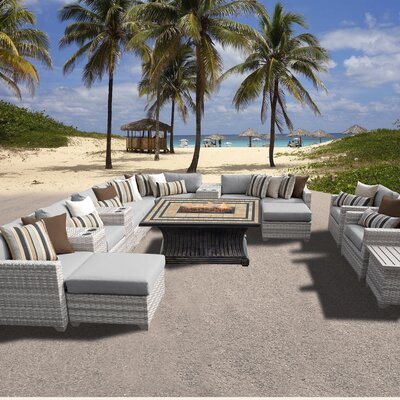 Fairmont Outdoor Wicker 17 Piece Fire Pit Seating Group with Cushion Fabric: Grey