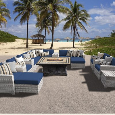Fairmont Outdoor Wicker 17 Piece Fire Pit Seating Group with Cushion Fabric: Navy