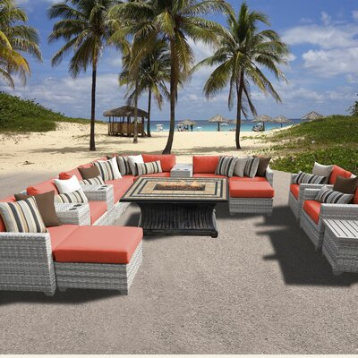 Fairmont Outdoor Wicker 17 Piece Fire Pit Seating Group with Cushion Fabric: Tangerine